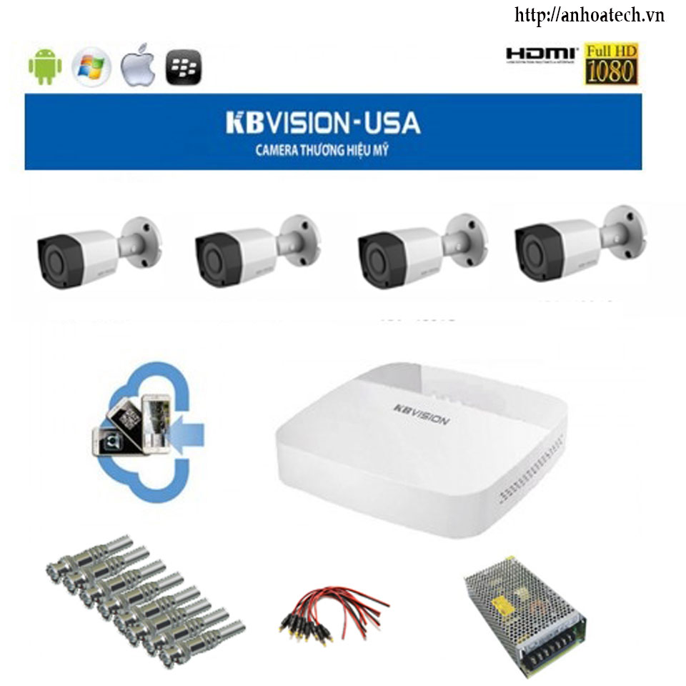 BỘ KIT KBVISION KIT Gồm 4 Camera +1 DVR 4 kênh Camera IP 2.0mp
