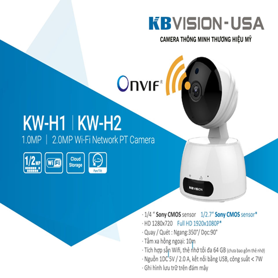 Camera IP Wifi 2.0MP KBONE KN-H21W KBvision camera quan sát