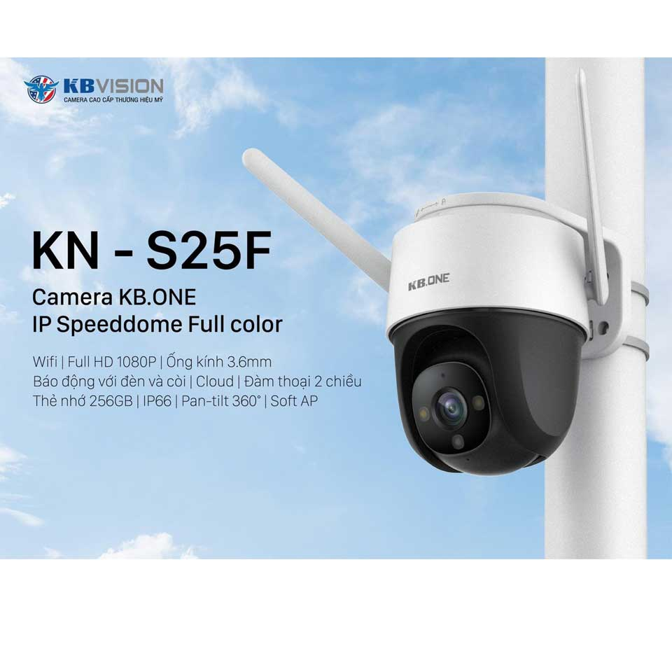 Camera Wifi PTZ Full Color 2MP KBONE KN-S25F