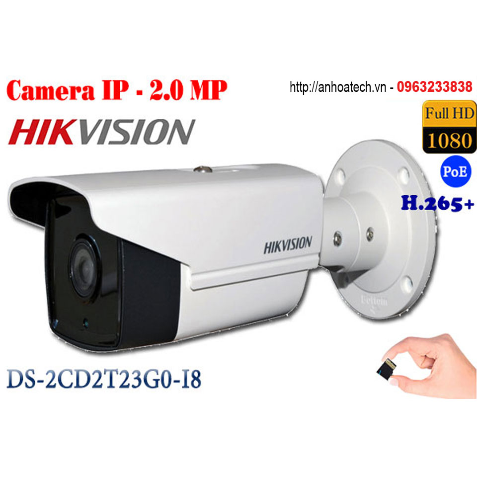 Camera IP 2MP Hikvision DS-2CD2T23G0-I8 camera quan sát
