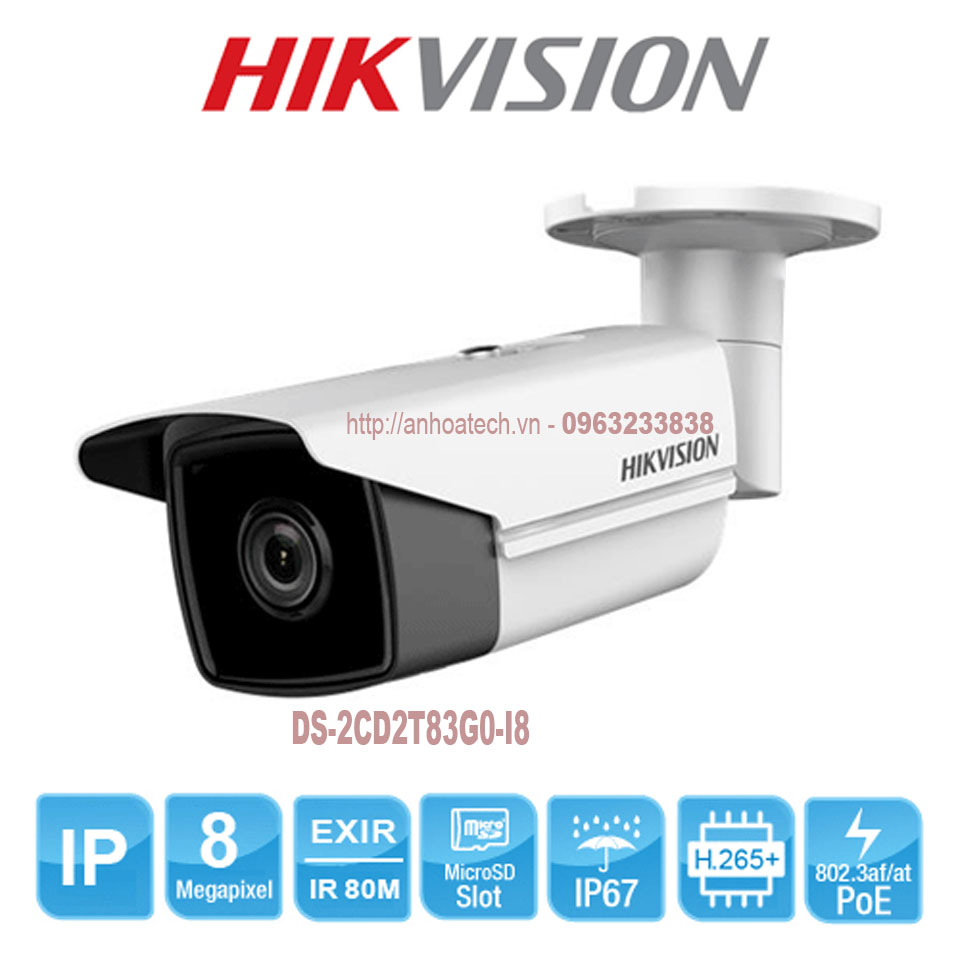Camera IP 8MP Hikvision DS-2CD2T83G0-I8 độ phân giải HD